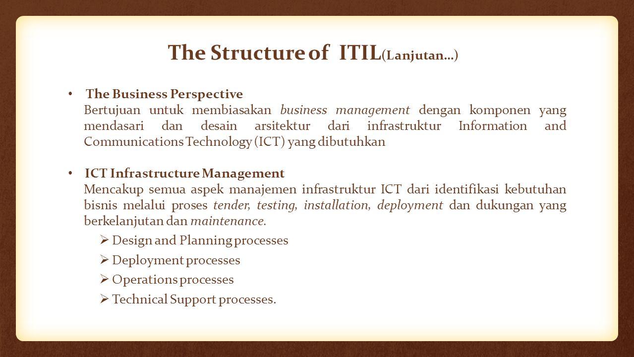 The Structure of ITIL (Lanjutan…) The Business Perspective Bertujuan untuk membiasakan business management dengan komponen yang mendasari dan desain a