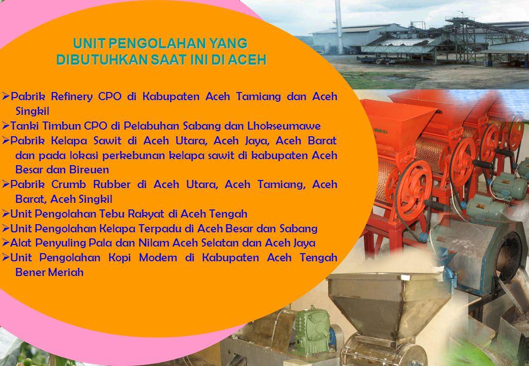  Pabrik Refinery CPO di Kabupaten Aceh Tamiang dan Aceh Singkil  Tanki Timbun CPO di Pelabuhan Sabang dan Lhokseumawe  Pabrik Kelapa Sawit di Aceh