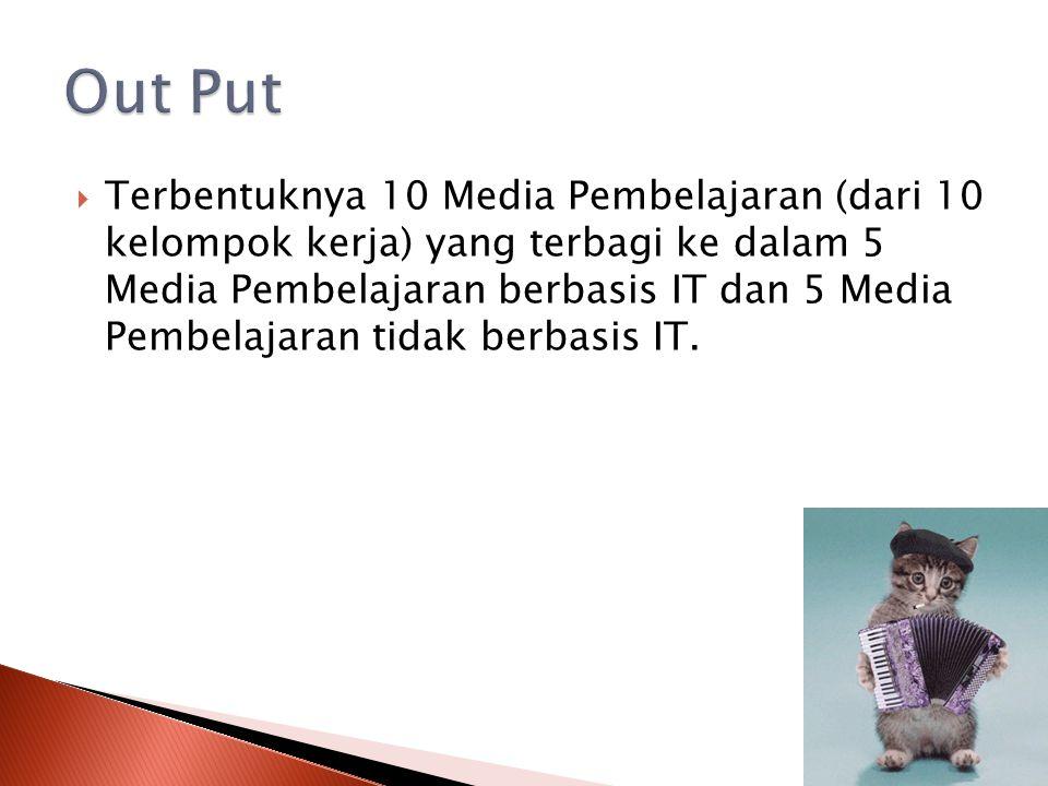  Terbentuknya 10 Media Pembelajaran (dari 10 kelompok kerja) yang terbagi ke dalam 5 Media Pembelajaran berbasis IT dan 5 Media Pembelajaran tidak be