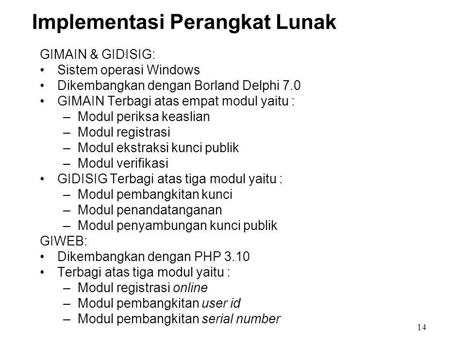 14 Implementasi Perangkat Lunak GIMAIN & GIDISIG: Sistem operasi Windows Dikembangkan dengan Borland Delphi 7.0 GIMAIN Terbagi atas empat modul yaitu