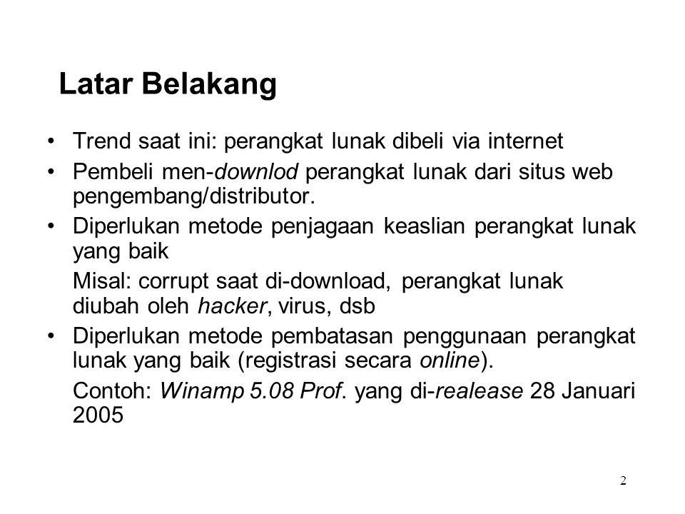 2 Latar Belakang Trend saat ini: perangkat lunak dibeli via internet Pembeli men-downlod perangkat lunak dari situs web pengembang/distributor. Diperl