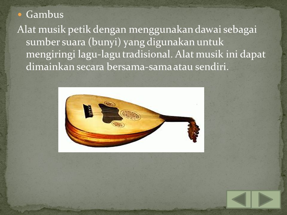 Gambus Alat musik petik dengan menggunakan dawai sebagai sumber suara (bunyi) yang digunakan untuk mengiringi lagu-lagu tradisional. Alat musik ini da