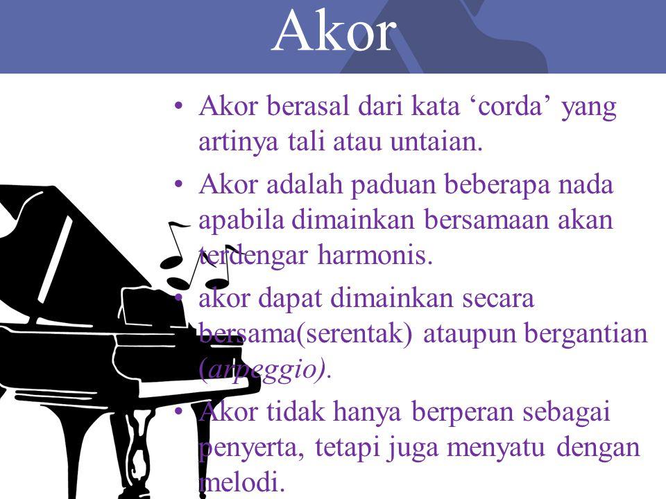 Jenis-Jenis Akor Akor Mayor Akor Minor AS AlasTerts BesarKwint Murni CEG AlasTerts KecilKwint CEbG