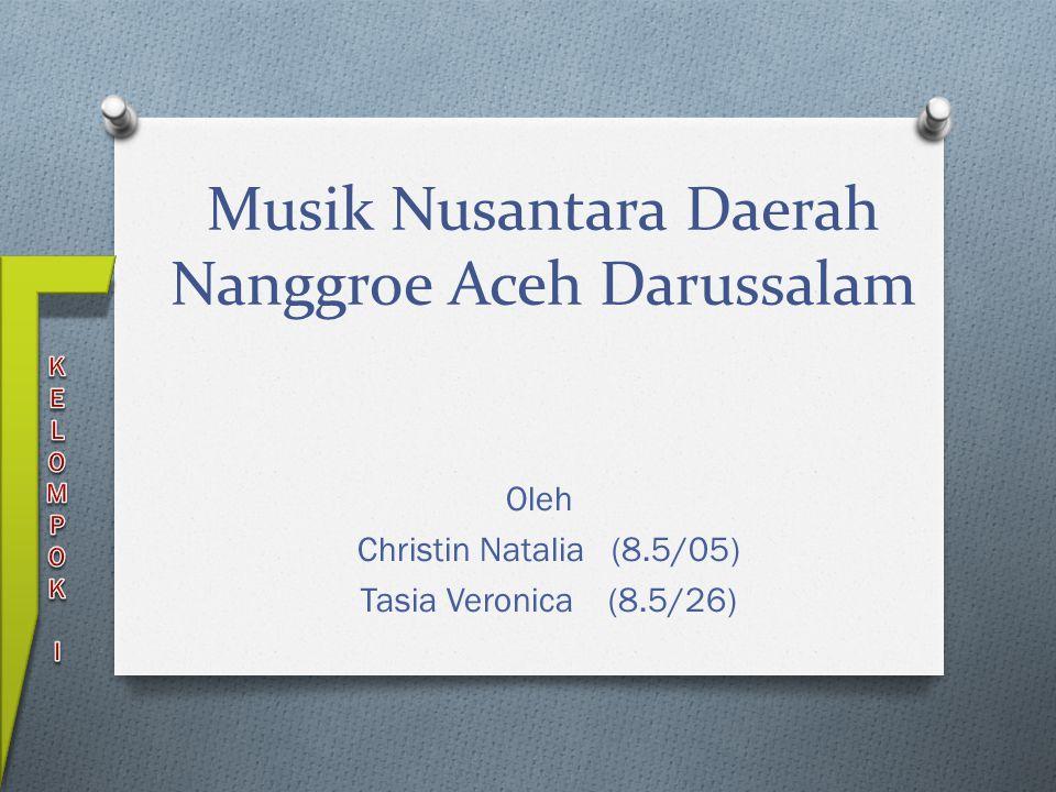 Musik Nusantara Daerah Nanggroe Aceh Darussalam Oleh Christin Natalia (8.5/05) Tasia Veronica (8.5/26)