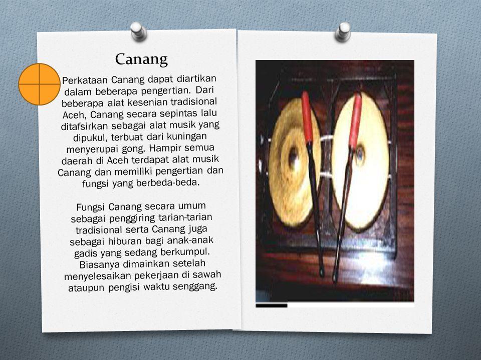Canang Perkataan Canang dapat diartikan dalam beberapa pengertian. Dari beberapa alat kesenian tradisional Aceh, Canang secara sepintas lalu ditafsirk