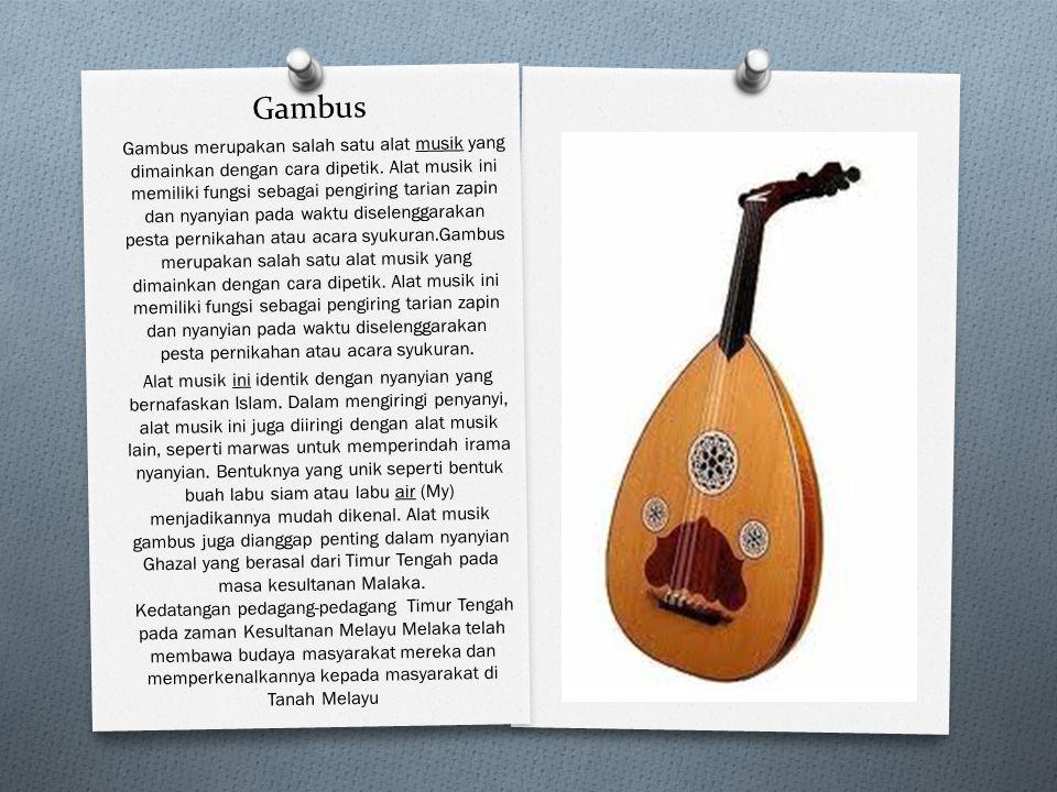 Gambus Gambus merupakan salah satu alat musik yang dimainkan dengan cara dipetik. Alat musik ini memiliki fungsi sebagai pengiring tarian zapin dan ny