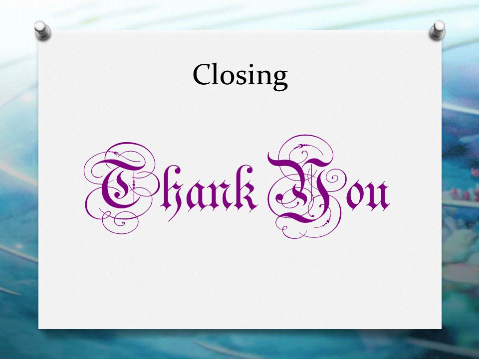 Closing Thank You