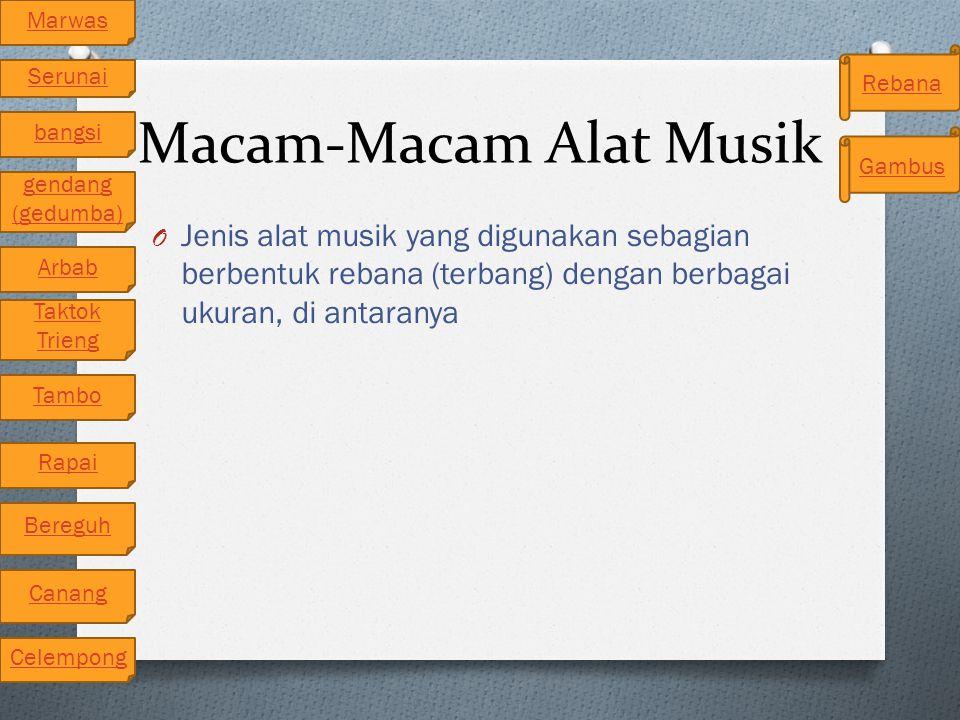 Macam-Macam Alat Musik O Jenis alat musik yang digunakan sebagian berbentuk rebana (terbang) dengan berbagai ukuran, di antaranya Arbab gendang (gedum