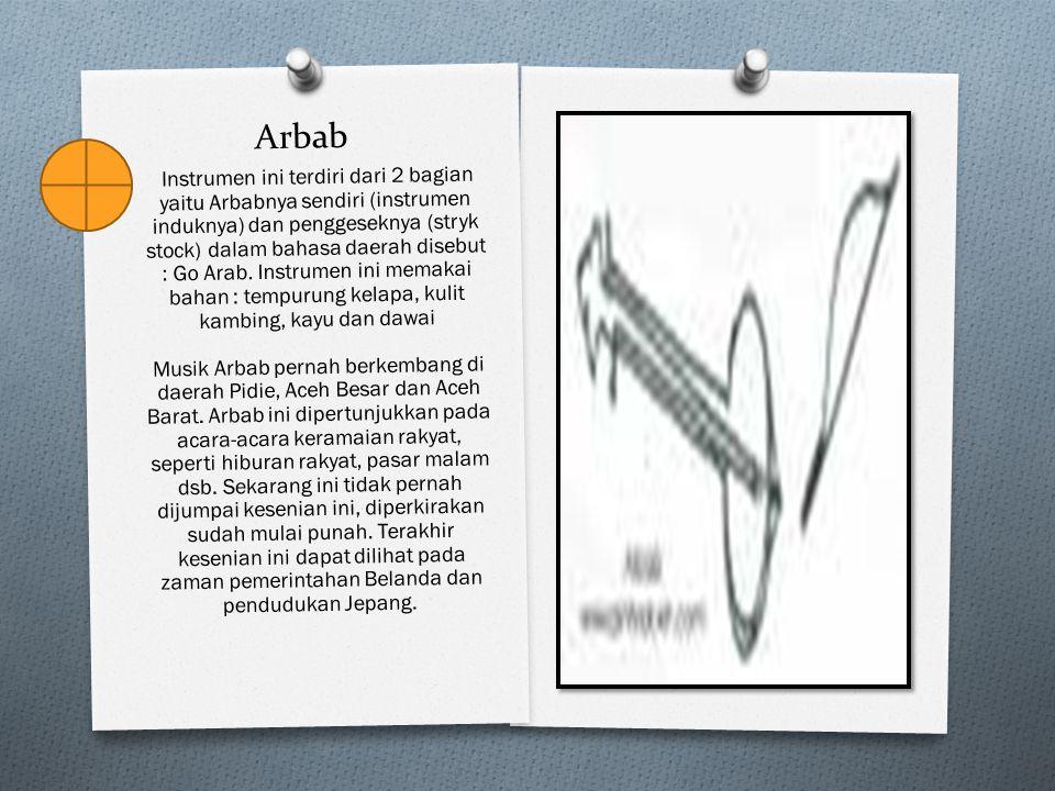 Arbab Instrumen ini terdiri dari 2 bagian yaitu Arbabnya sendiri (instrumen induknya) dan penggeseknya (stryk stock) dalam bahasa daerah disebut : Go