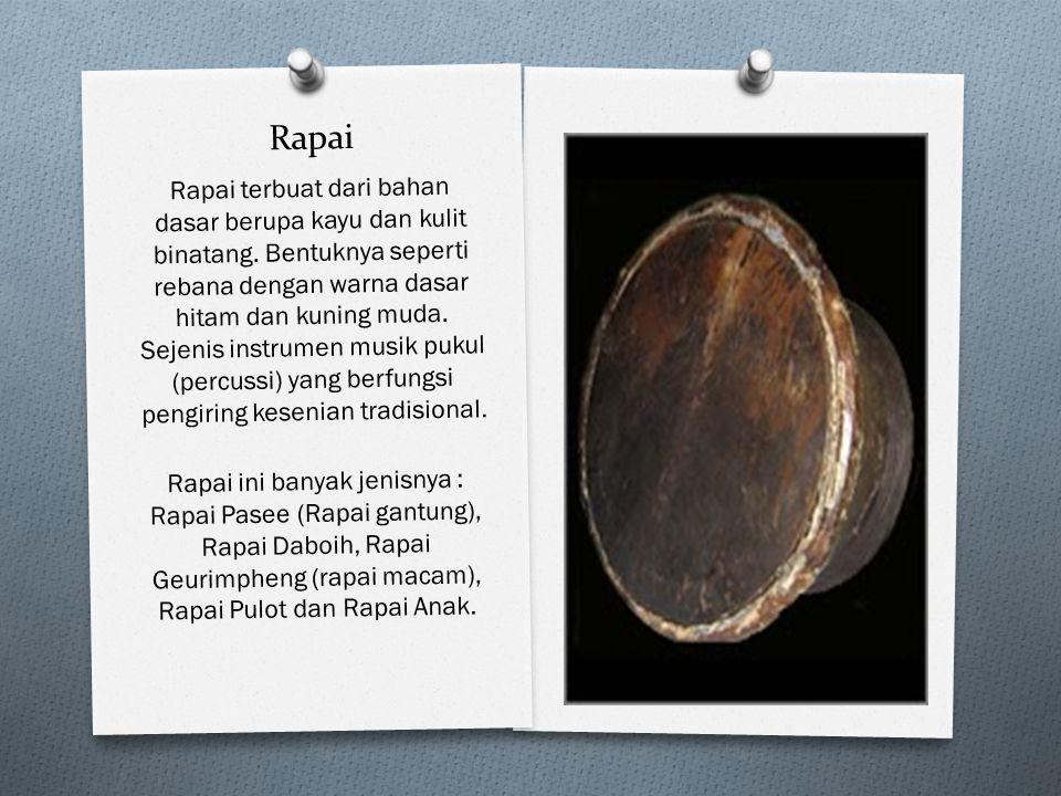 Rapai Rapai terbuat dari bahan dasar berupa kayu dan kulit binatang. Bentuknya seperti rebana dengan warna dasar hitam dan kuning muda. Sejenis instru