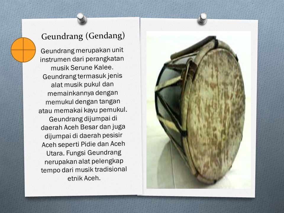 Geundrang (Gendang) Geundrang merupakan unit instrumen dari perangkatan musik Serune Kalee. Geundrang termasuk jenis alat musik pukul dan memainkannya