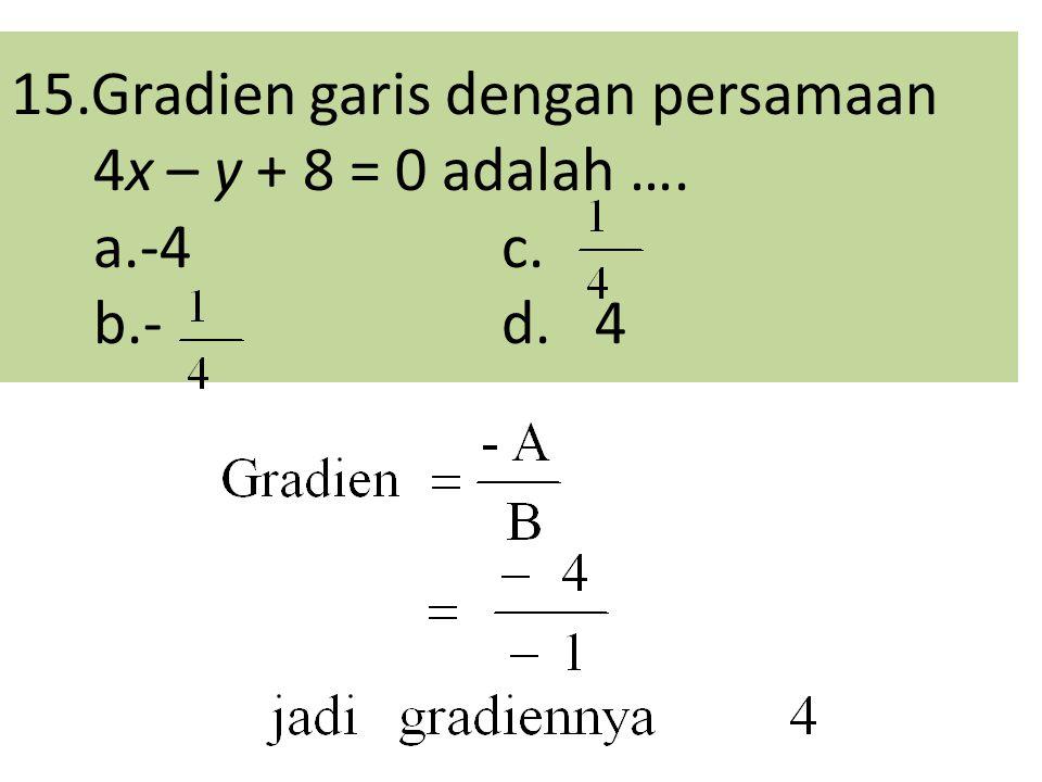 15.Gradien garis dengan persamaan 4x – y + 8 = 0 adalah …. a.-4c. b.- d. 4