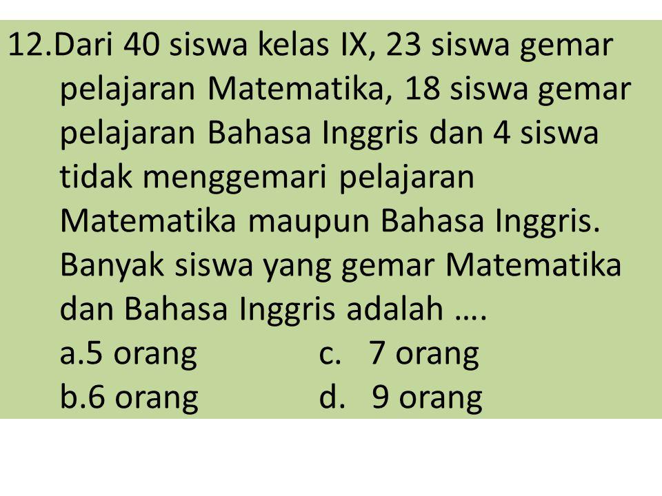 12.Dari 40 siswa kelas IX, 23 siswa gemar pelajaran Matematika, 18 siswa gemar pelajaran Bahasa Inggris dan 4 siswa tidak menggemari pelajaran Matemat