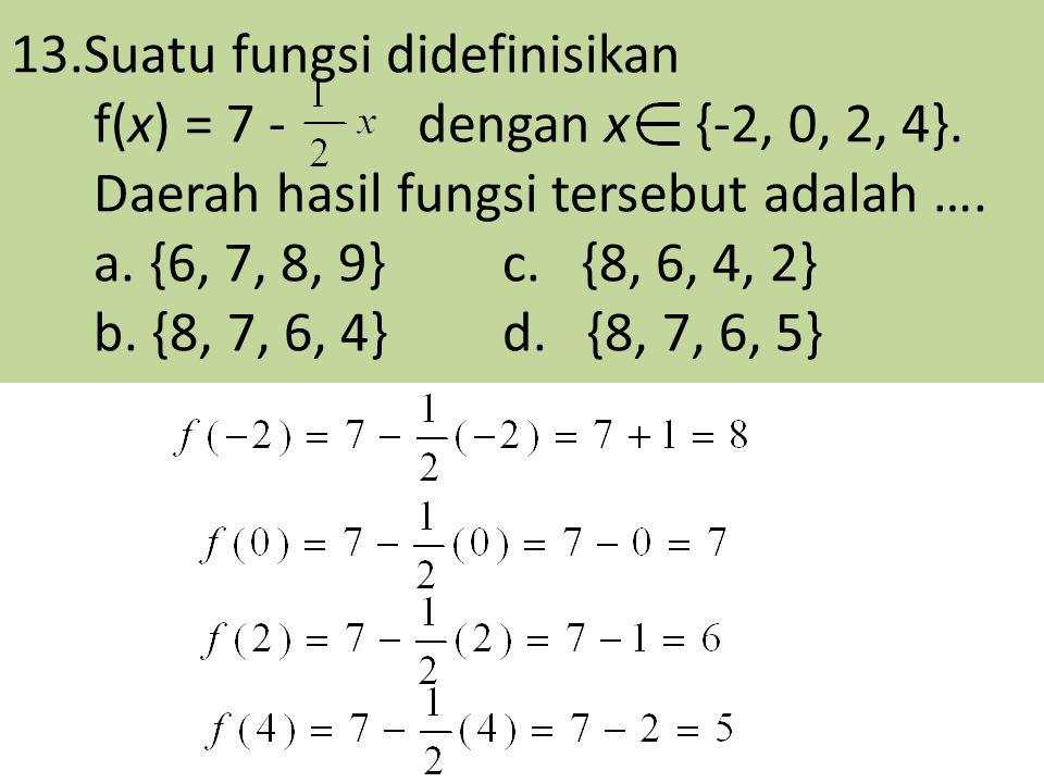 13.Suatu fungsi didefinisikan f(x) = 7 - dengan x {-2, 0, 2, 4}. Daerah hasil fungsi tersebut adalah …. a. {6, 7, 8, 9}c. {8, 6, 4, 2} b. {8, 7, 6, 4}