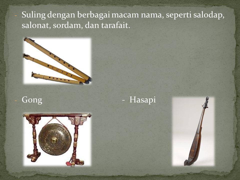 Lagu-lagu tata ganing yang terkenal, di antaranya Anju Au, Butet, Dago Inang Sage, Liso, Madedek Magambiri, Mariam Tomong, Rambadia, Sengko-Sengko, Sinanggar Tulo, Sing Sing So, dan Setara Tilo.