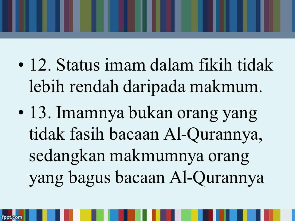 6.Imam dan makmum harus berada di satu tempat. 7.
