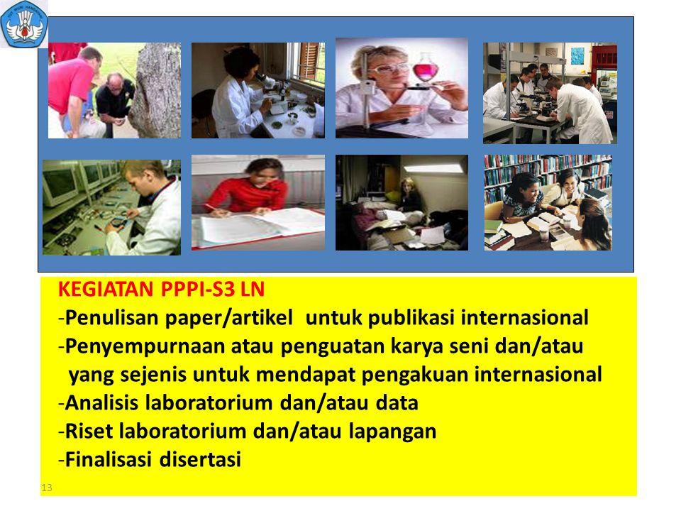13 KEGIATAN PPPI-S3 LN -Penulisan paper/artikel untuk publikasi internasional -Penyempurnaan atau penguatan karya seni dan/atau yang sejenis untuk men