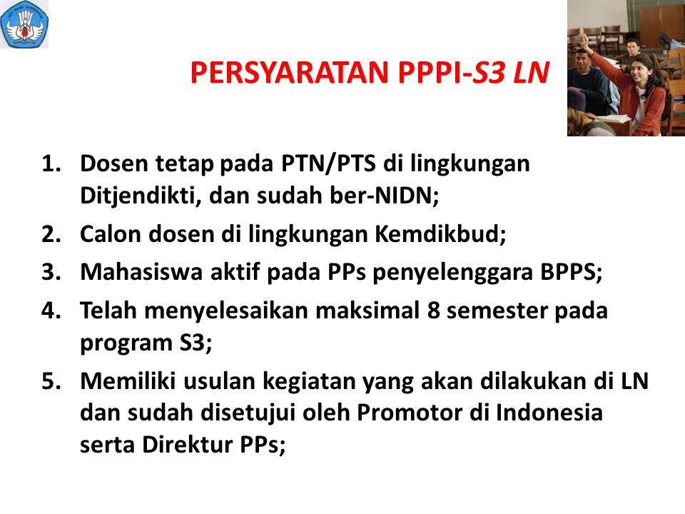 PERSYARATAN PPPI-S3 LN 1.Dosen tetap pada PTN/PTS di lingkungan Ditjendikti, dan sudah ber-NIDN; 2.Calon dosen di lingkungan Kemdikbud; 3.Mahasiswa ak