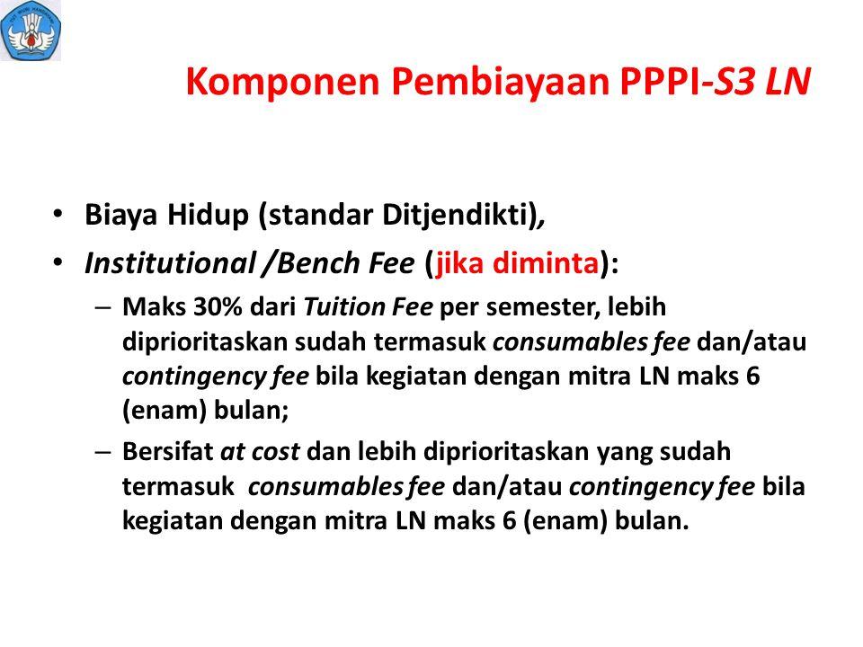 Komponen Pembiayaan PPPI-S3 LN Biaya Hidup (standar Ditjendikti), Institutional /Bench Fee (jika diminta): – Maks 30% dari Tuition Fee per semester, l