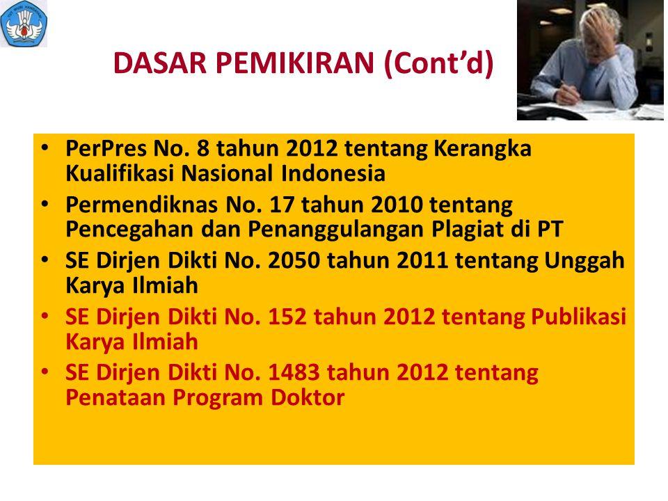 DASAR PEMIKIRAN (Cont'd) PerPres No. 8 tahun 2012 tentang Kerangka Kualifikasi Nasional Indonesia Permendiknas No. 17 tahun 2010 tentang Pencegahan da