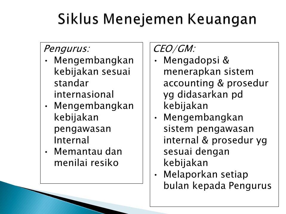 Siklus Menejemen Keuangan CEO/GM: Mengadopsi & menerapkan sistem accounting & prosedur yg didasarkan pd kebijakan Mengembangkan sistem pengawasan inte