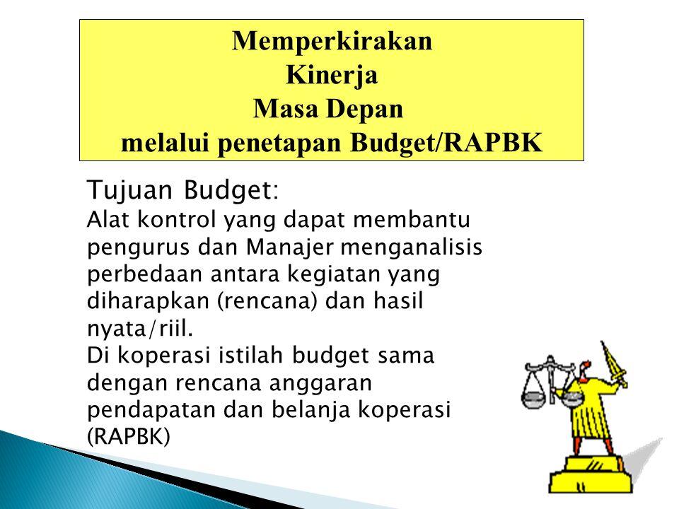 Memperkirakan Kinerja Masa Depan melalui penetapan Budget/RAPBK Tujuan Budget: Alat kontrol yang dapat membantu pengurus dan Manajer menganalisis perb