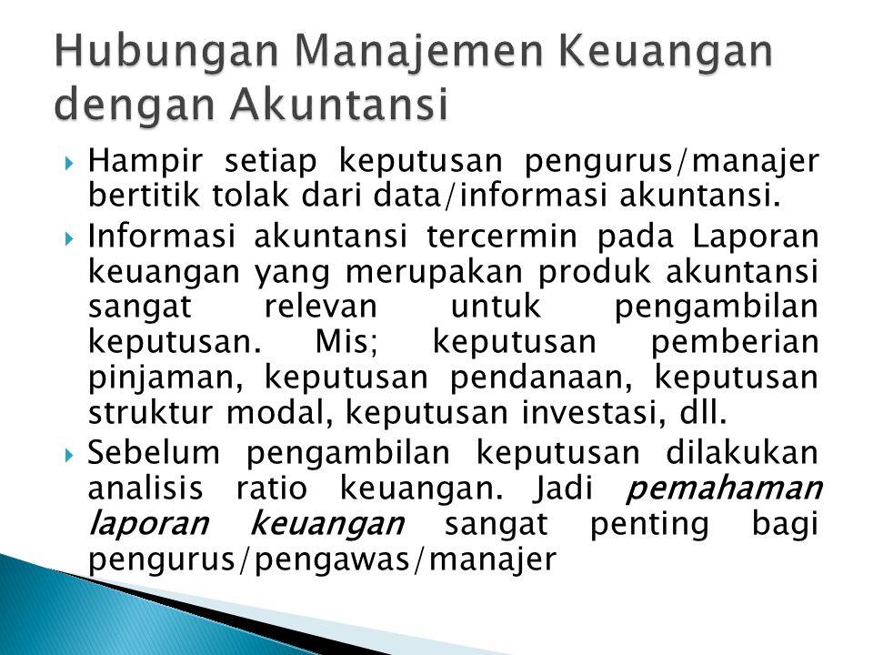  Hampir setiap keputusan pengurus/manajer bertitik tolak dari data/informasi akuntansi.  Informasi akuntansi tercermin pada Laporan keuangan yang me