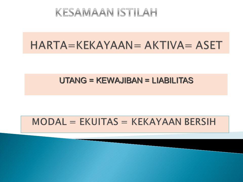 MODAL = EKUITAS = KEKAYAAN BERSIH UTANG = KEWAJIBAN = LIABILITAS
