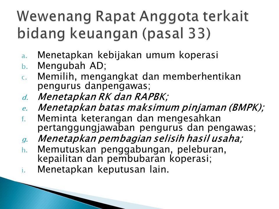 a. Menetapkan kebijakan umum koperasi b. Mengubah AD; c. Memilih, mengangkat dan memberhentikan pengurus danpengawas; d. Menetapkan RK dan RAPBK; e. M