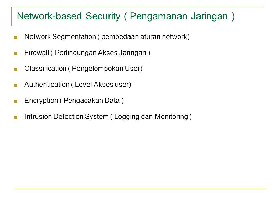 Network-based Security ( Pengamanan Jaringan ) Network Segmentation ( pembedaan aturan network) Firewall ( Perlindungan Akses Jaringan ) Classification ( Pengelompokan User) Authentication ( Level Akses user) Encryption ( Pengacakan Data ) Intrusion Detection System ( Logging dan Monitoring )
