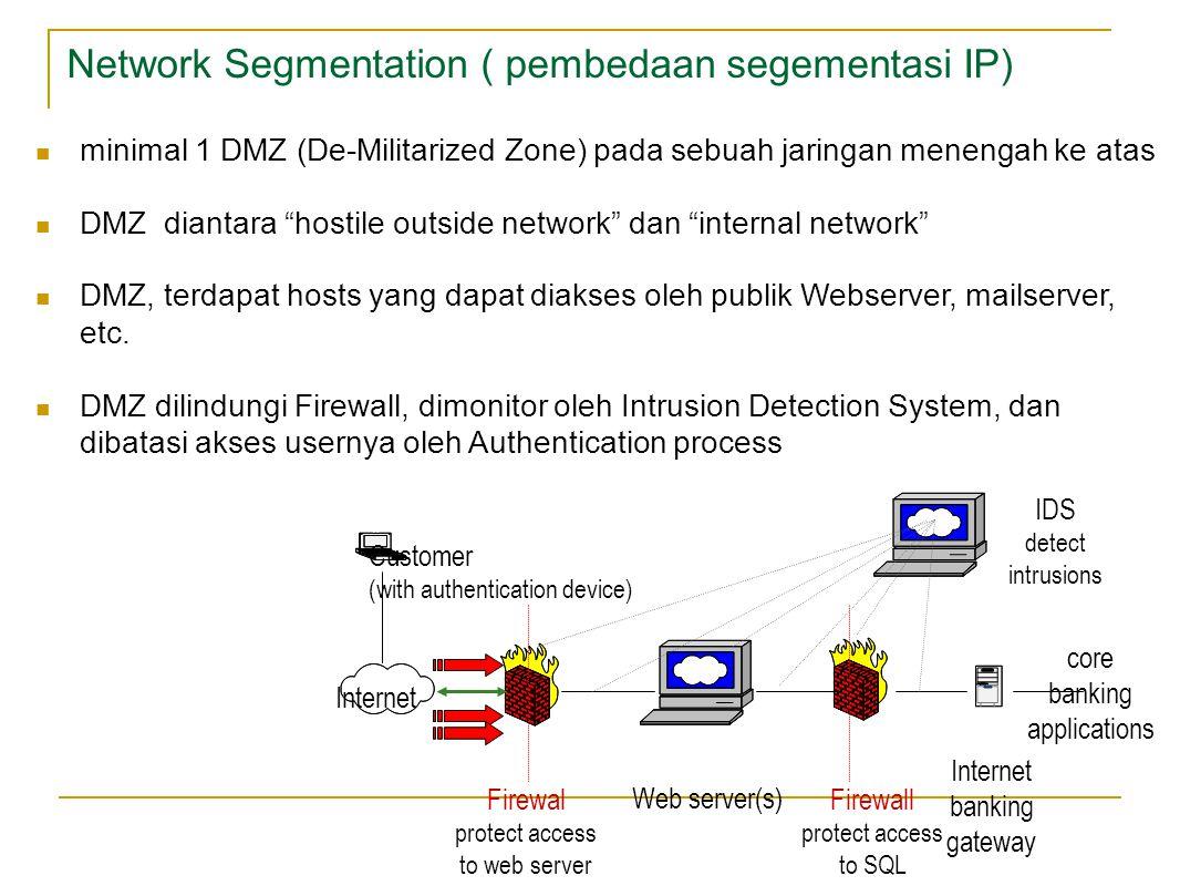 Network Segmentation ( pembedaan segementasi IP) minimal 1 DMZ (De-Militarized Zone) pada sebuah jaringan menengah ke atas DMZ diantara hostile outside network dan internal network DMZ, terdapat hosts yang dapat diakses oleh publik Webserver, mailserver, etc.