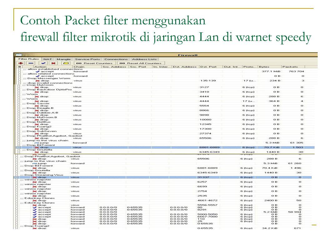 Contoh Packet filter menggunakan firewall filter mikrotik di jaringan Lan di warnet speedy