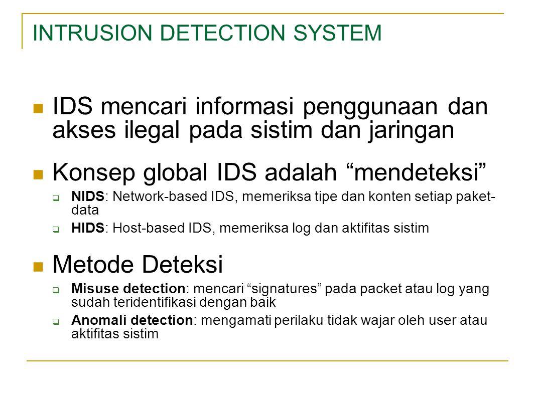 INTRUSION DETECTION SYSTEM IDS mencari informasi penggunaan dan akses ilegal pada sistim dan jaringan Konsep global IDS adalah mendeteksi  NIDS: Network-based IDS, memeriksa tipe dan konten setiap paket- data  HIDS: Host-based IDS, memeriksa log dan aktifitas sistim Metode Deteksi  Misuse detection: mencari signatures pada packet atau log yang sudah teridentifikasi dengan baik  Anomali detection: mengamati perilaku tidak wajar oleh user atau aktifitas sistim