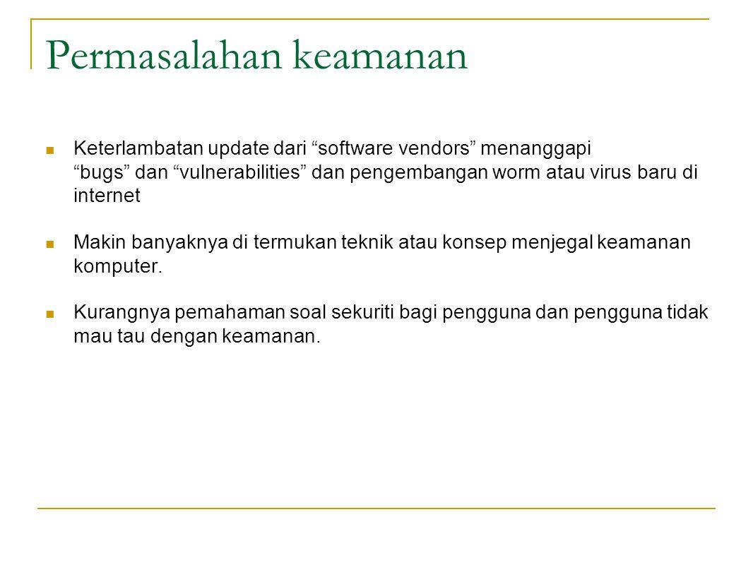 Permasalahan keamanan Keterlambatan update dari software vendors menanggapi bugs dan vulnerabilities dan pengembangan worm atau virus baru di internet Makin banyaknya di termukan teknik atau konsep menjegal keamanan komputer.