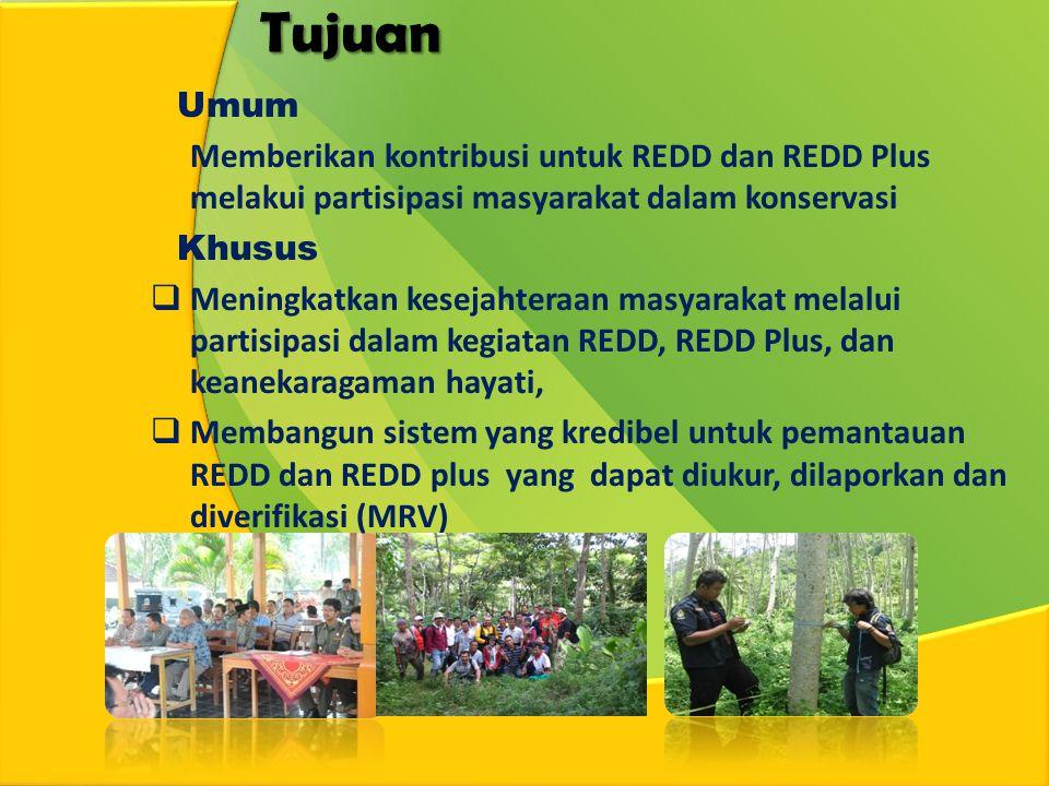 Tujuan Umum Memberikan kontribusi untuk REDD dan REDD Plus melakui partisipasi masyarakat dalam konservasi Khusus  Meningkatkan kesejahteraan masyarakat melalui partisipasi dalam kegiatan REDD, REDD Plus, dan keanekaragaman hayati,  Membangun sistem yang kredibel untuk pemantauan REDD dan REDD plus yang dapat diukur, dilaporkan dan diverifikasi (MRV)