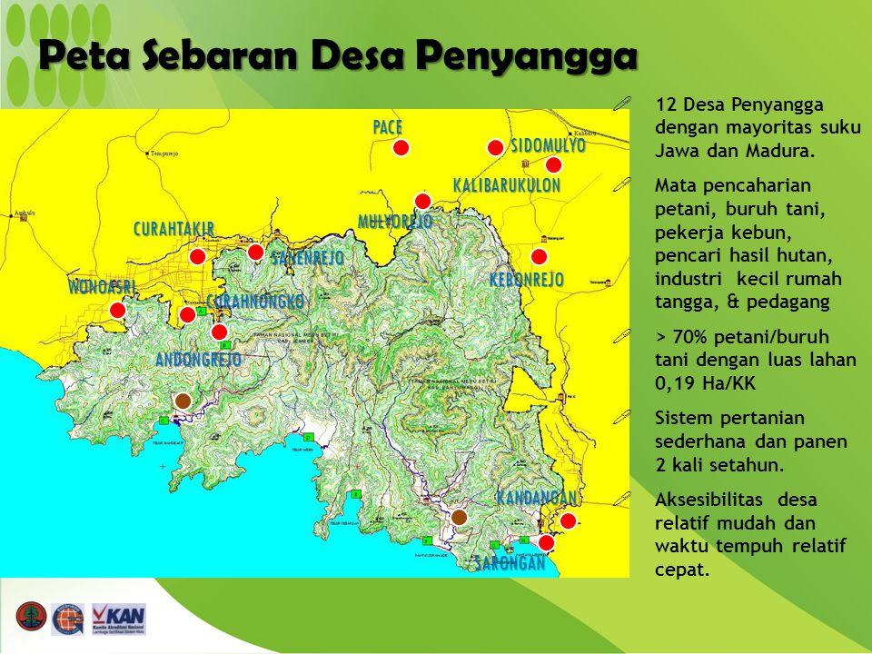 Peta Sebaran Desa Penyangga WONOASRI CURAHTAKIR SANENREJO CURAHNONGKO ANDONGREJO KANDANGAN SARONGAN KEBONREJO MULYOREJO PACE KALIBARUKULON SIDOMULYO  12 Desa Penyangga dengan mayoritas suku Jawa dan Madura.