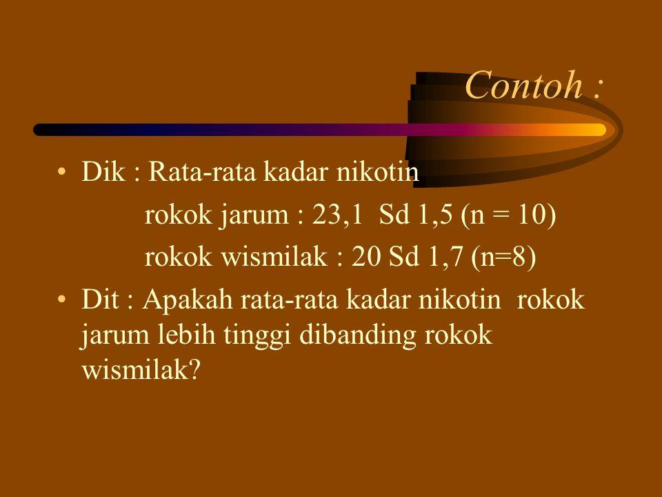 Contoh : Dik : Rata-rata kadar nikotin rokok jarum : 23,1 Sd 1,5 (n = 10) rokok wismilak : 20 Sd 1,7 (n=8) Dit : Apakah rata-rata kadar nikotin rokok