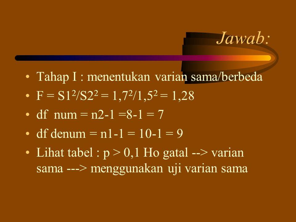 Jawab: Tahap I : menentukan varian sama/berbeda F = S1 2 /S2 2 = 1,7 2 /1,5 2 = 1,28 df num = n2-1 =8-1 = 7 df denum = n1-1 = 10-1 = 9 Lihat tabel : p