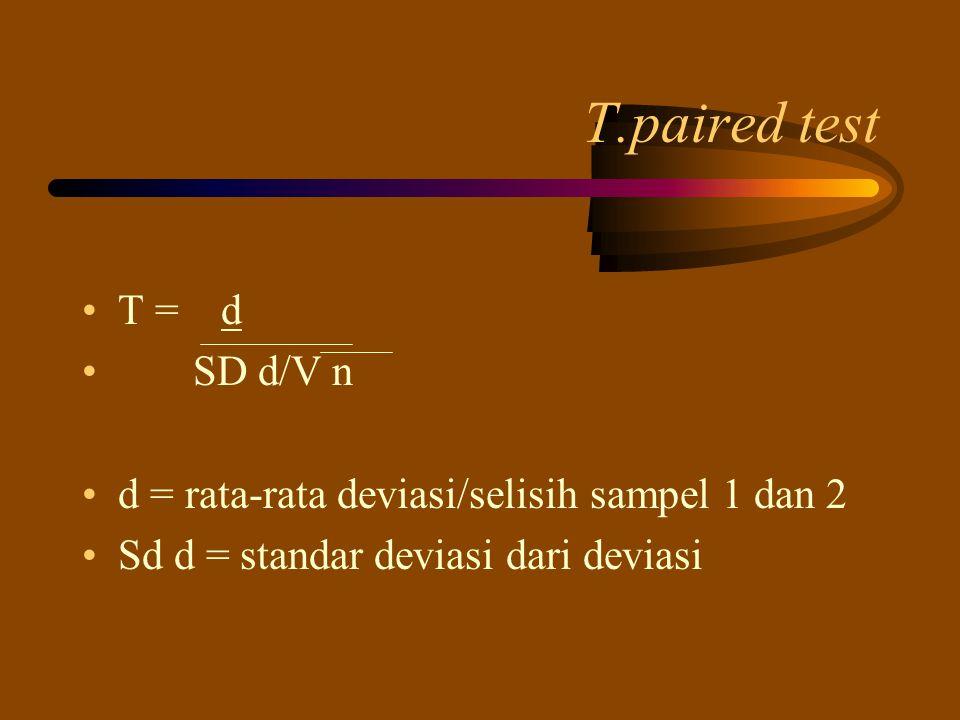 T.paired test T = d SD d/V n d = rata-rata deviasi/selisih sampel 1 dan 2 Sd d = standar deviasi dari deviasi