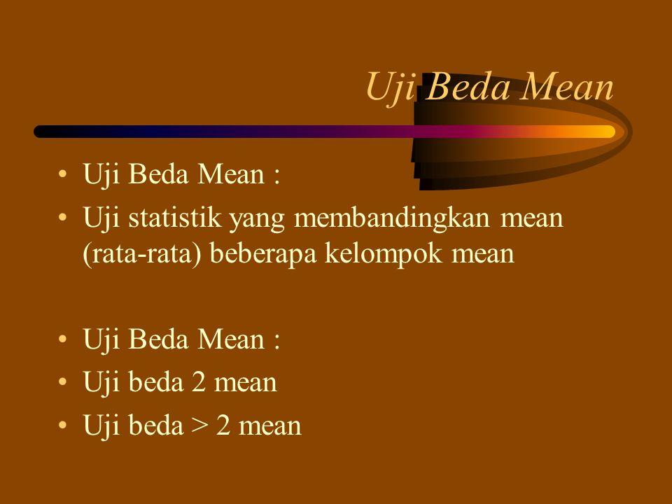 Uji Beda Mean Uji Beda Mean : Uji statistik yang membandingkan mean (rata-rata) beberapa kelompok mean Uji Beda Mean : Uji beda 2 mean Uji beda > 2 me