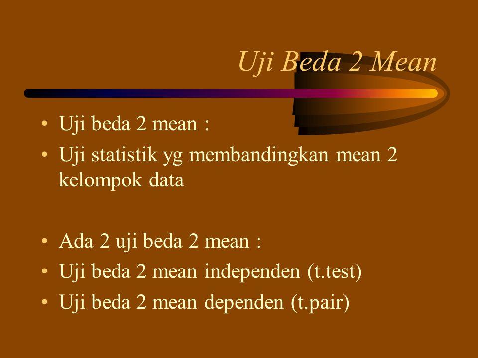 Uji Beda 2 Mean Uji beda 2 mean : Uji statistik yg membandingkan mean 2 kelompok data Ada 2 uji beda 2 mean : Uji beda 2 mean independen (t.test) Uji