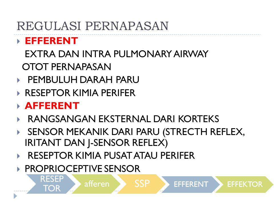 REGULASI PERNAPASAN  EFFERENT EXTRA DAN INTRA PULMONARY AIRWAY OTOT PERNAPASAN  PEMBULUH DARAH PARU  RESEPTOR KIMIA PERIFER  AFFERENT  RANGSANGAN EKSTERNAL DARI KORTEKS  SENSOR MEKANIK DARI PARU (STRECTH REFLEX, IRITANT DAN J-SENSOR REFLEX)  RESEPTOR KIMIA PUSAT ATAU PERIFER  PROPRIOCEPTIVE SENSOR RESEP TOR afferen SSP EFFERENTEFFEKTOR