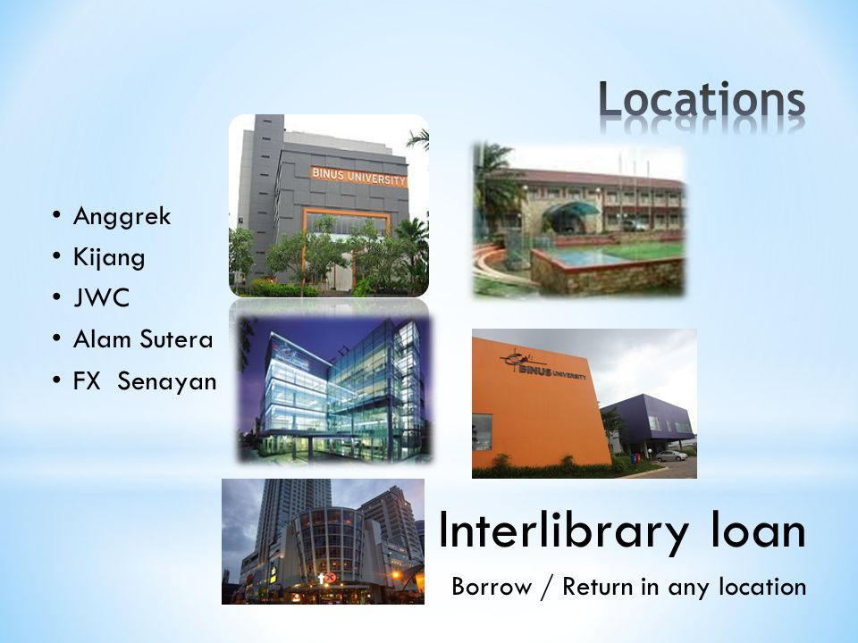 Anggrek Kijang JWC Alam Sutera FX Senayan Interlibrary loan Borrow / Return in any location