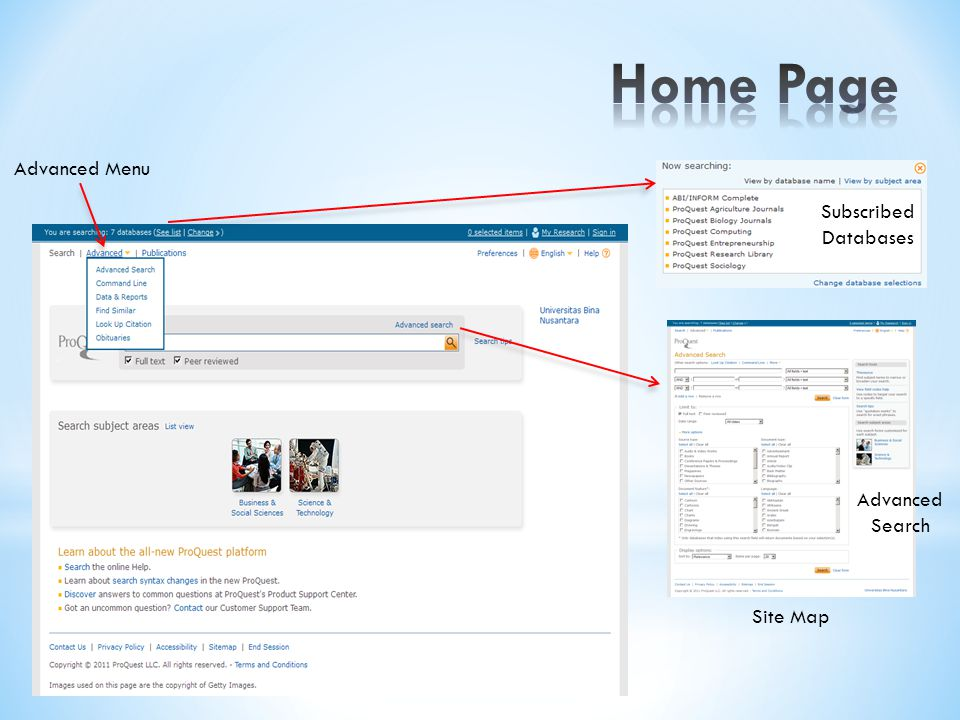 Site Map Advanced Menu Advanced Search Subscribed Databases