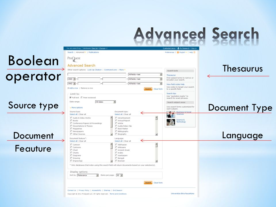 Boolean operator Thesaurus Source type Document Feauture Document Type Language