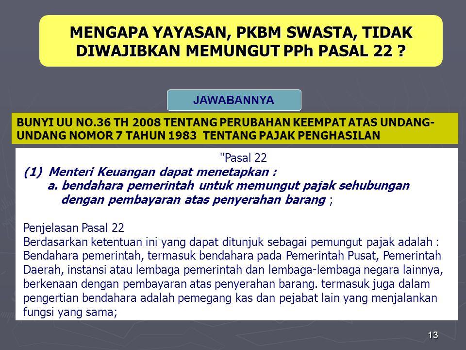 13 Pasal 22 (1) Menteri Keuangan dapat menetapkan : a.