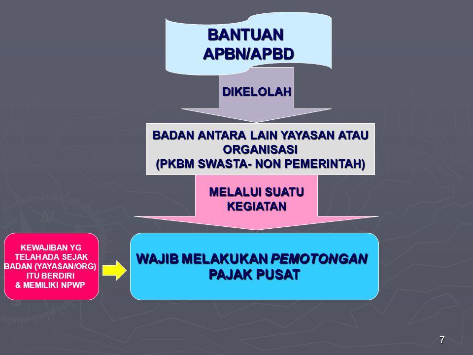 7 DIKELOLAH BADAN ANTARA LAIN YAYASAN ATAU ORGANISASI (PKBM SWASTA- NON PEMERINTAH) MELALUI SUATU KEGIATAN BANTUANAPBN/APBD WAJIB MELAKUKAN PEMOTONGAN PAJAK PUSAT KEWAJIBAN YG TELAH ADA SEJAK BADAN (YAYASAN/ORG) ITU BERDIRI & MEMILIKI NPWP