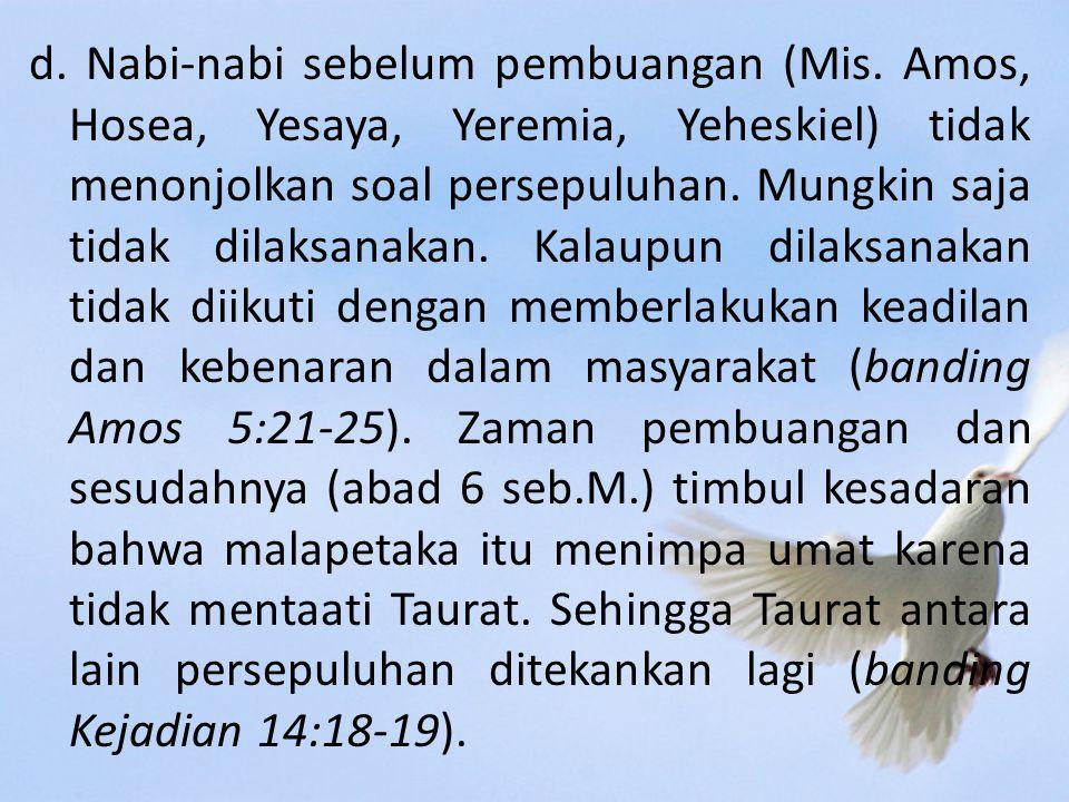 d.Nabi-nabi sebelum pembuangan (Mis.