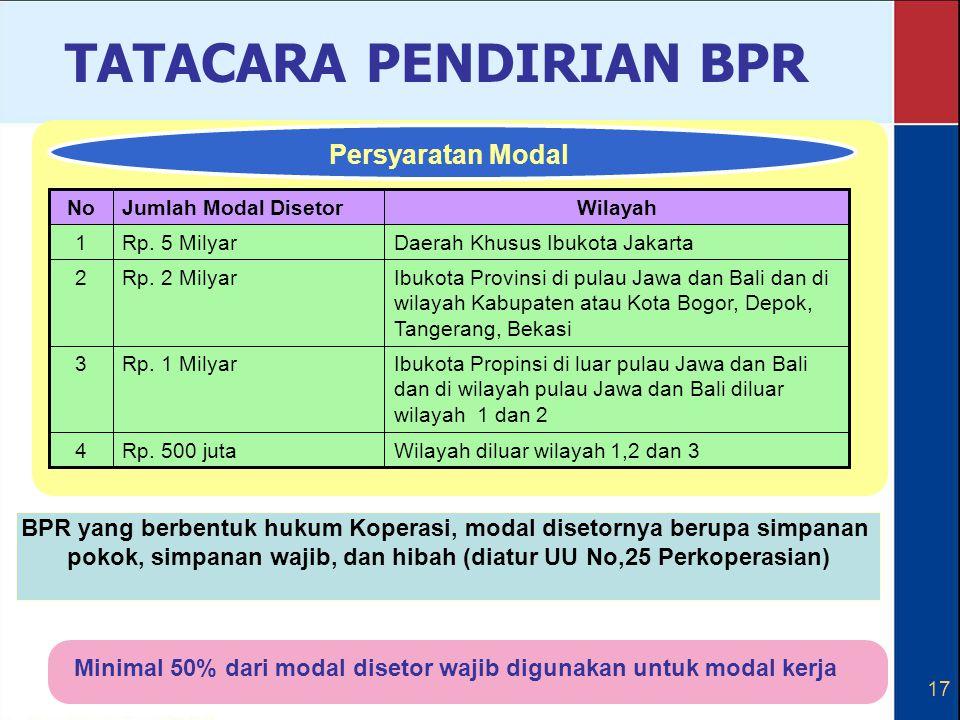 17 Minimal 50% dari modal disetor wajib digunakan untuk modal kerja BPR yang berbentuk hukum Koperasi, modal disetornya berupa simpanan pokok, simpana