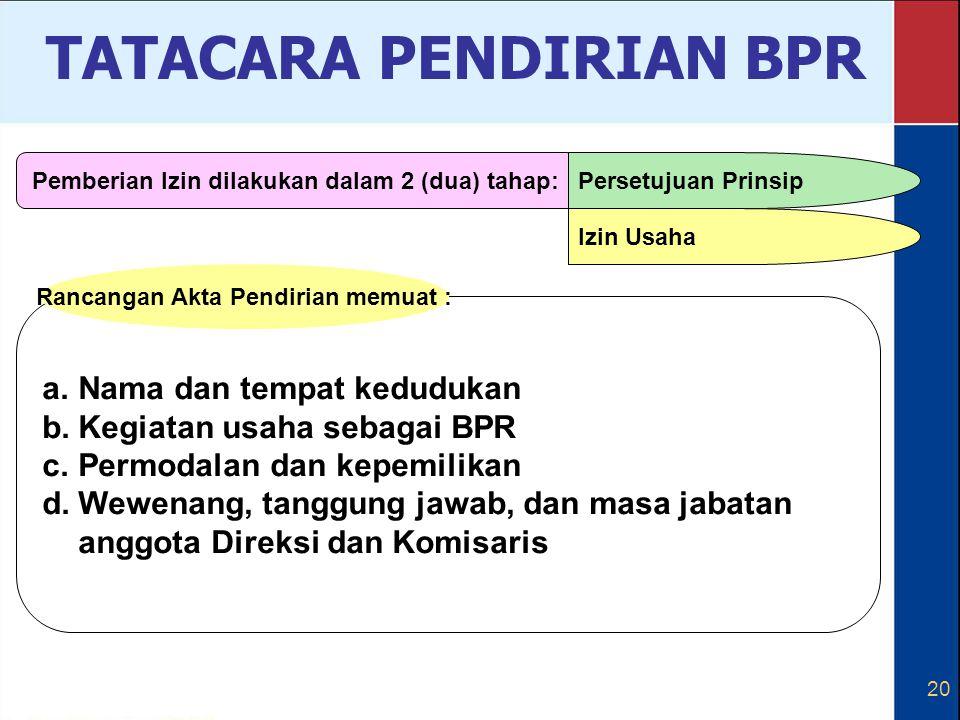 20 a.Nama dan tempat kedudukan b.Kegiatan usaha sebagai BPR c.Permodalan dan kepemilikan d.Wewenang, tanggung jawab, dan masa jabatan anggota Direksi